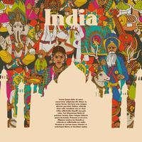 Cartaz de padrões de símbolos culturais da Índia vetor