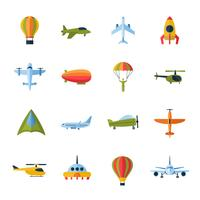 Ícones de aeronaves definidas planas vetor