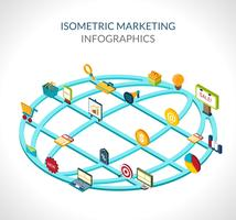 Infográficos isométricos de marketing
