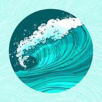 Círculo de ondas do mar vetor