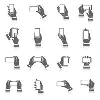 Mão, telefone, ícones vetor