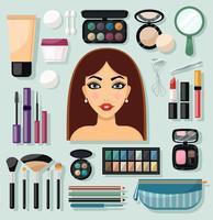 Ícones de maquiagem planas vetor
