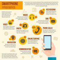 Conjunto de infográficos de smartphone vetor