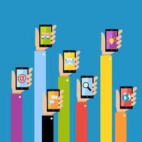 Mãos de negócios com gadgets vetor