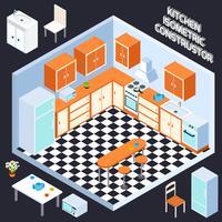 Interior de cozinha isométrica