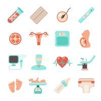 Ícones recém-nascidos de gravidez vetor