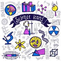 Esboço de doodle de ícones de símbolos de ciência vetor