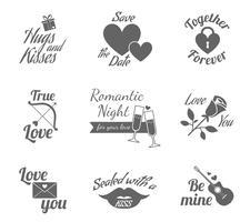 Conjunto de ícones de rótulos românticos vetor
