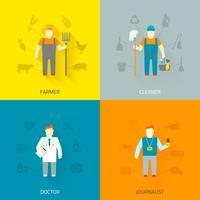 Composição de ícones de personagens 4x4 de profissão plana vetor