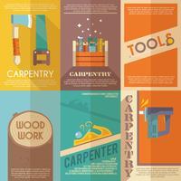 Conjunto de cartaz de carpintaria vetor
