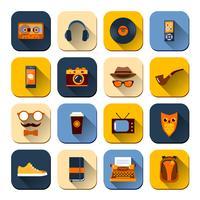 Conjunto de ícones de hipster vetor