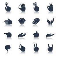 Mão, ícones, pretas