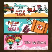 Conjunto de Banners de Viagem vetor