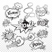 Conjunto de boom cômico vetor