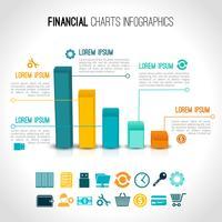 Infográfico de gráficos de finanças vetor