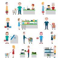 Conjunto de pessoas de supermercado