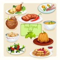 Conjunto de pratos tradicionais vetor