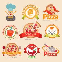 Conjunto de rótulos de pizzaria vetor
