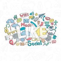 Doodle social como vetor