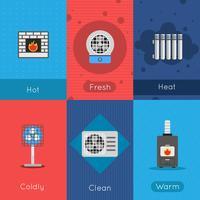 Cartaz de aquecimento e resfriamento vetor