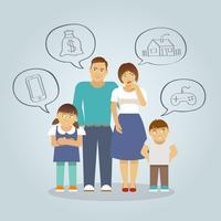 Família sonhando plana vetor