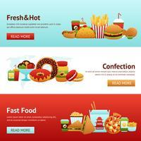 Conjunto de Banner de Fast Food vetor