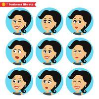 Conjunto de ícones de emoções faciais vetor