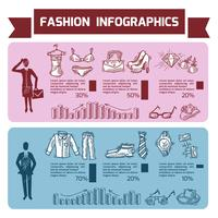 Conjunto de infográficos de moda vetor