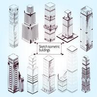 Edifícios isométricos de esboço
