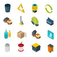 Ícones isométricos de lixo