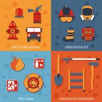 Conjunto plano de bombeiro vetor