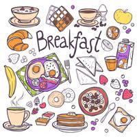 Conjunto de ícones de café da manhã vetor