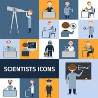 Conjunto de ícones de cientistas vetor
