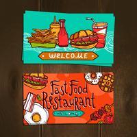 Fast Food Cartões vetor