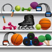 Prateleira de loja de desporto