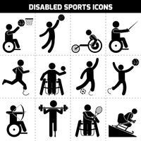 Ícones de esportes com deficiência vetor