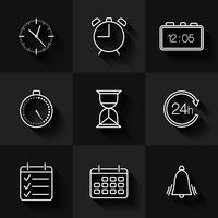 Conjunto de ícones de data, hora e calendário de contorno vetor