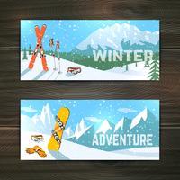 Conjunto de bandeiras de turismo de esporte de inverno vetor
