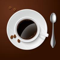 Branco realista com café preto vetor
