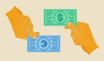 dinheiro de mão vetor