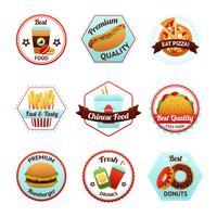 Emblemas de fast food vetor