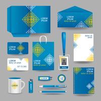 Modelo de papelaria azul negócios ornamentais vetor
