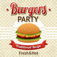 Cartaz do partido do hamburguer vetor
