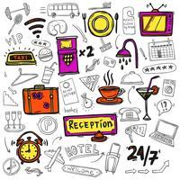 Ícones de serviço de hotel doodle esboço