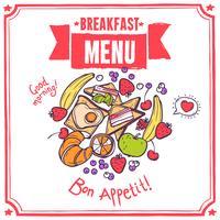 Menu Esboço do Café da Manhã vetor