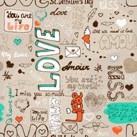 Padrão de carta de amor sem emenda vetor