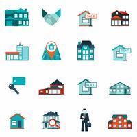Imobiliária ícone plana