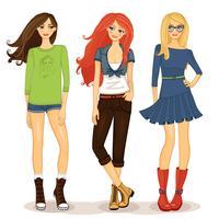 meninas amigáveis vetor