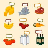 Itens de alimentos de supermercado com sinais em branco