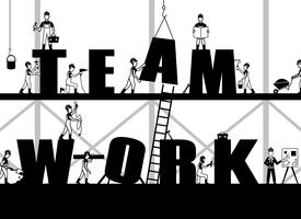 Cartaz de trabalho em equipe de construção vetor